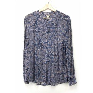 Lucky Brand Paisley Print Blue Button Up Blouse